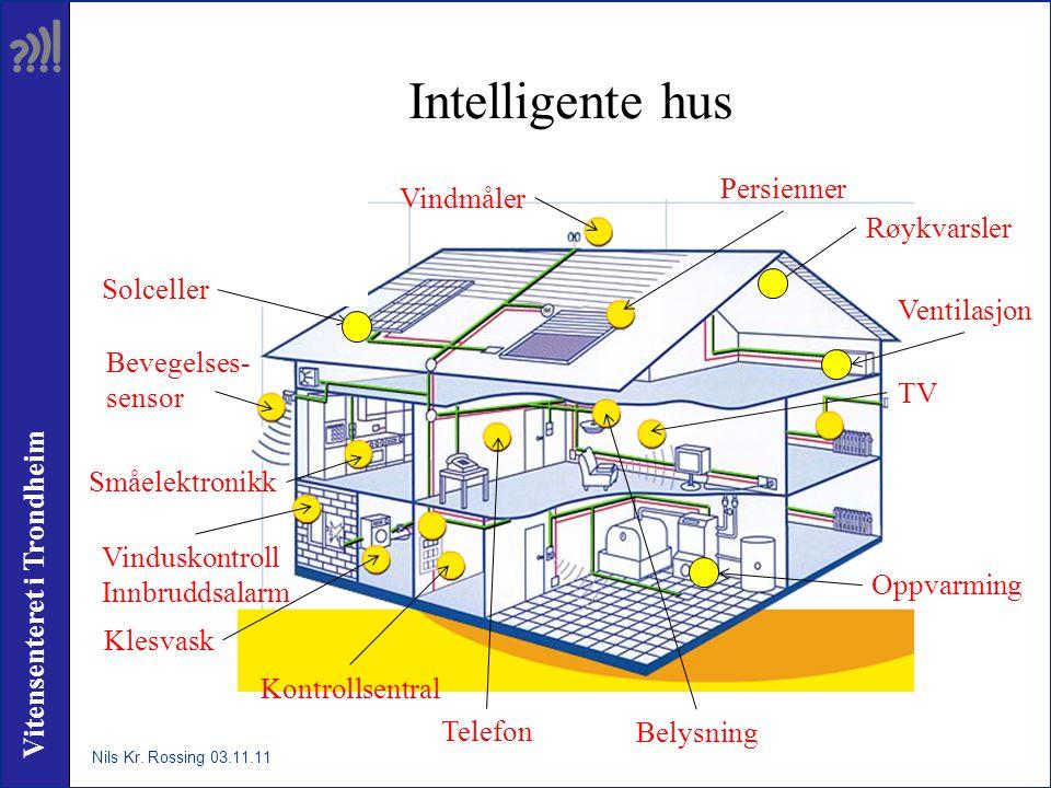 Vitensenteret i Trondheim Intelligente hus Solceller Vindmåler Persienner Bevegelses- sensor Vinduskontroll Innbruddsalarm Ventilasjon Oppvarming Kont