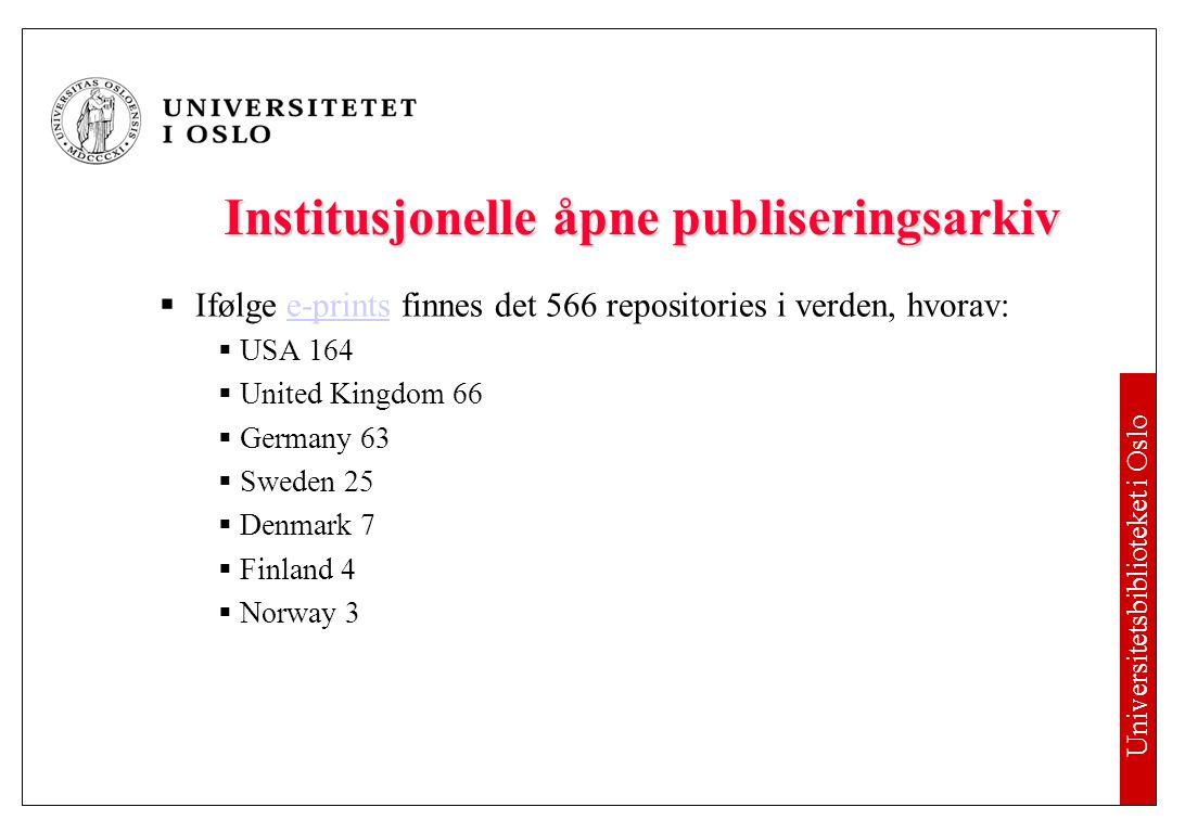 Universitetsbiblioteket i Oslo Du har allerede undertegnet publiseringsavtalen.