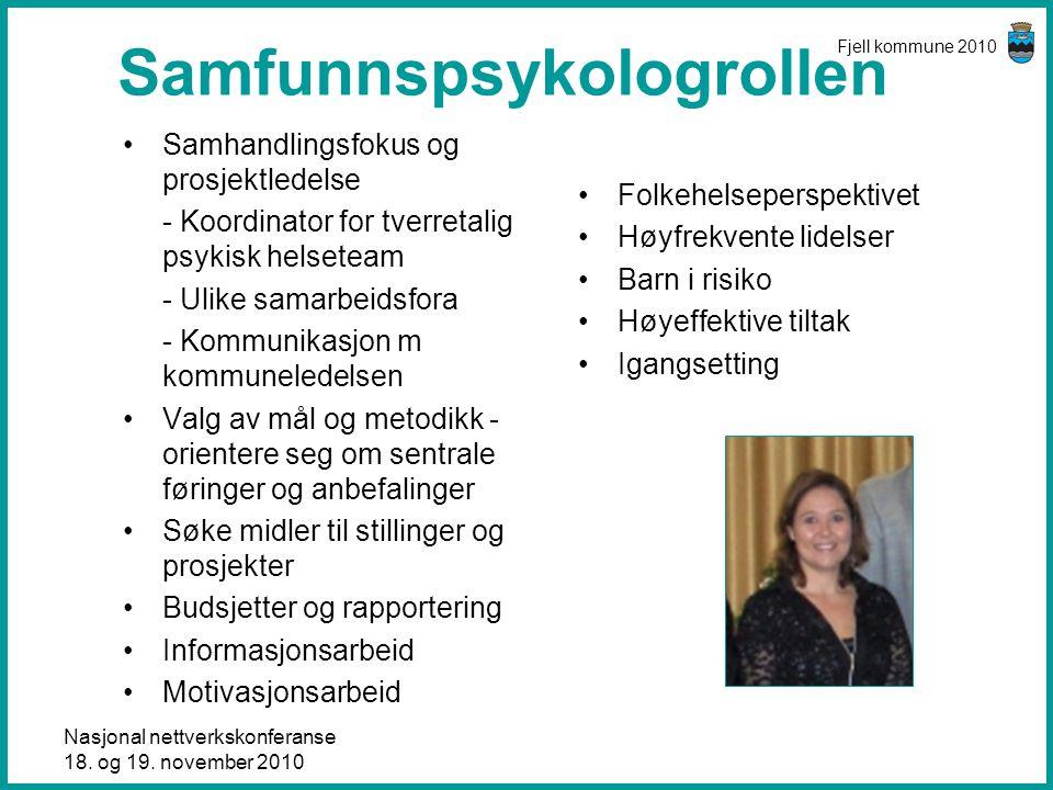 Nasjonal nettverkskonferanse 18. og 19. november 2010 Fjell kommune 2010 Samfunnspsykologrollen •Samhandlingsfokus og prosjektledelse - Koordinator fo