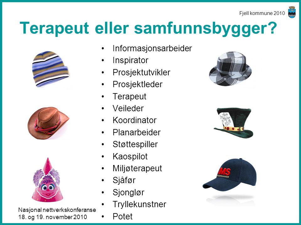 Nasjonal nettverkskonferanse 18. og 19. november 2010 Fjell kommune 2010 Terapeut eller samfunnsbygger? •Informasjonsarbeider •Inspirator •Prosjektutv