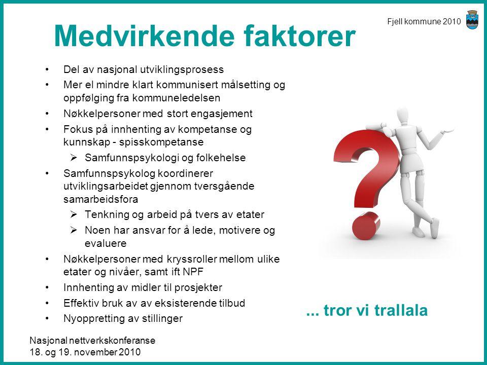 Nasjonal nettverkskonferanse 18. og 19. november 2010 Fjell kommune 2010 Medvirkende faktorer •Del av nasjonal utviklingsprosess •Mer el mindre klart