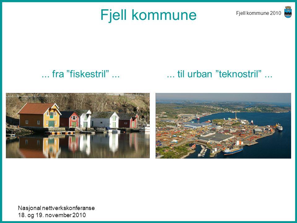 """Nasjonal nettverkskonferanse 18. og 19. november 2010 Fjell kommune 2010 Fjell kommune... fra """"fiskestril""""...... til urban """"teknostril""""..."""
