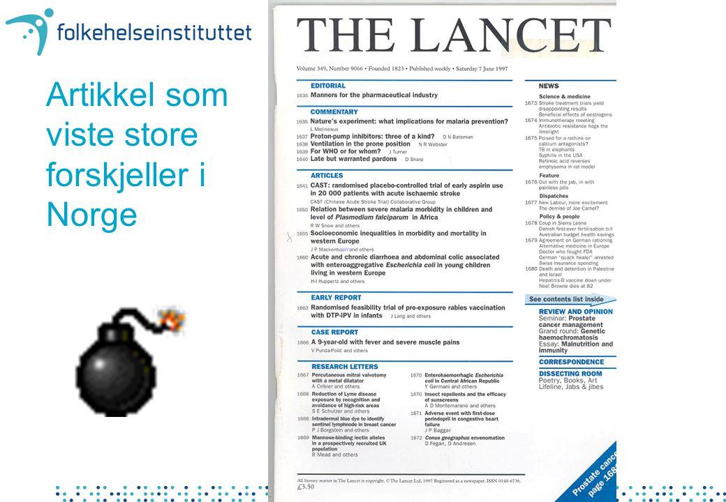 Artikkel som viste store forskjeller i Norge