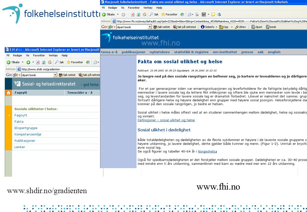 www.shdir.no/gradienten www.fhi.no
