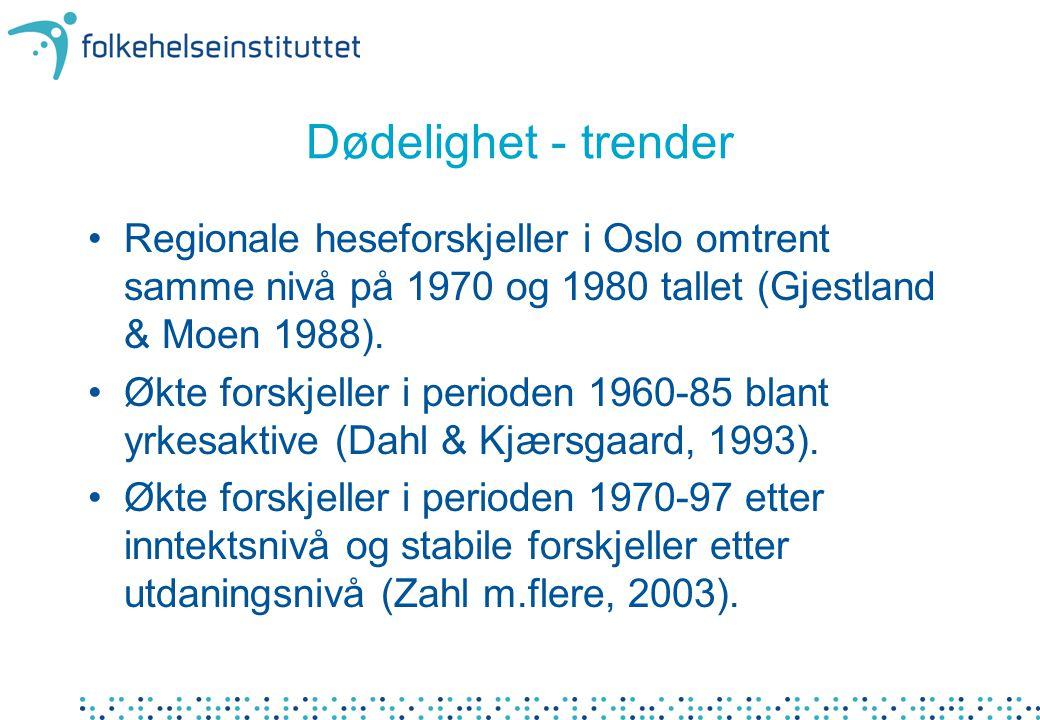 Dødelighet - trender •Regionale heseforskjeller i Oslo omtrent samme nivå på 1970 og 1980 tallet (Gjestland & Moen 1988). •Økte forskjeller i perioden