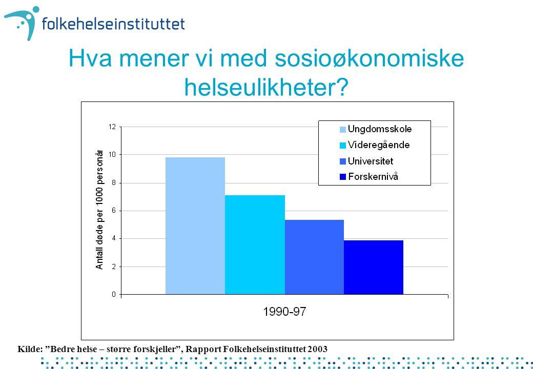 """Hva mener vi med sosioøkonomiske helseulikheter? Kilde: """"Bedre helse – større forskjeller"""", Rapport Folkehelseinstituttet 2003"""