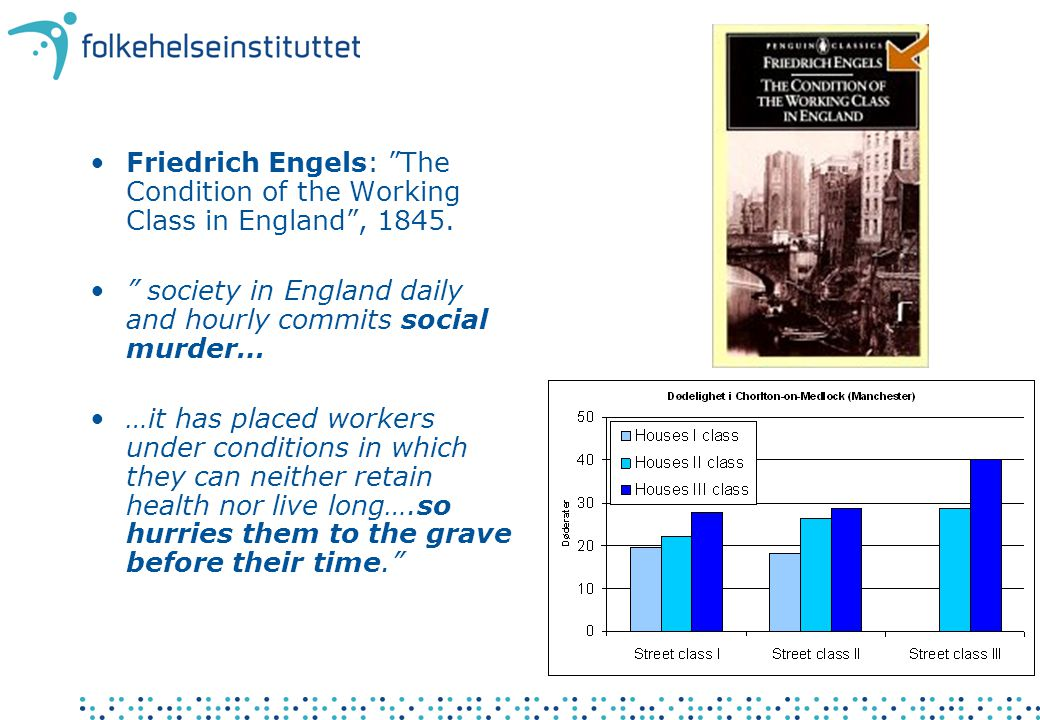 "•Friedrich Engels: ""The Condition of the Working Class in England"", 1845. •"" society in England daily and hourly commits social murder… •…it has place"
