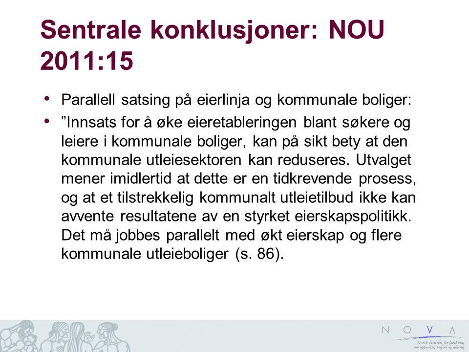 """Sentrale konklusjoner: NOU 2011:15 • Parallell satsing på eierlinja og kommunale boliger: • """"Innsats for å øke eieretableringen blant søkere og leiere"""