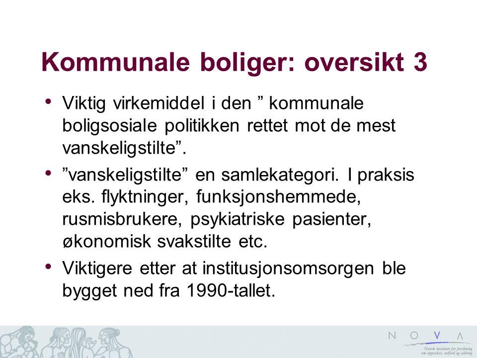 """Kommunale boliger: oversikt 3 • Viktig virkemiddel i den """" kommunale boligsosiale politikken rettet mot de mest vanskeligstilte"""". • """"vanskeligstilte"""""""