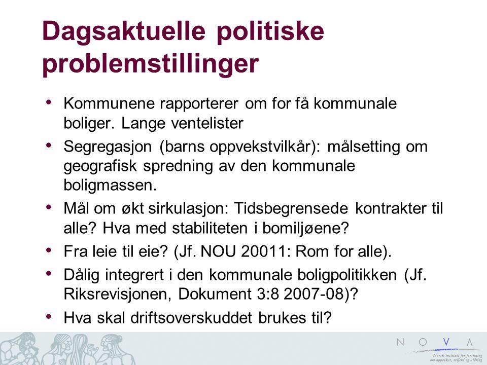 Dagsaktuelle politiske problemstillinger • Kommunene rapporterer om for få kommunale boliger. Lange ventelister • Segregasjon (barns oppvekstvilkår):