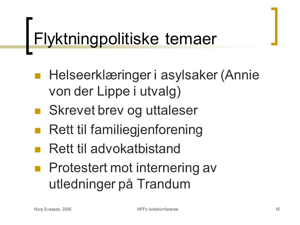 Nora Sveaass, 2006NPFs lederkonferanse18 Flyktningpolitiske temaer  Helseerklæringer i asylsaker (Annie von der Lippe i utvalg)  Skrevet brev og utt