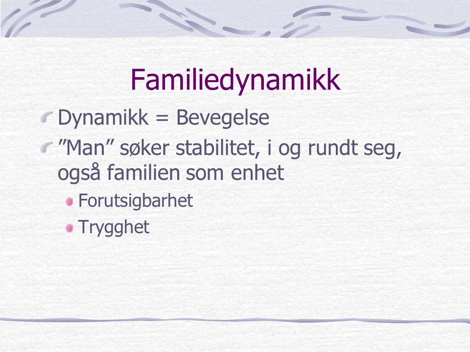 """Familiedynamikk Dynamikk = Bevegelse """"Man"""" søker stabilitet, i og rundt seg, også familien som enhet Forutsigbarhet Trygghet"""