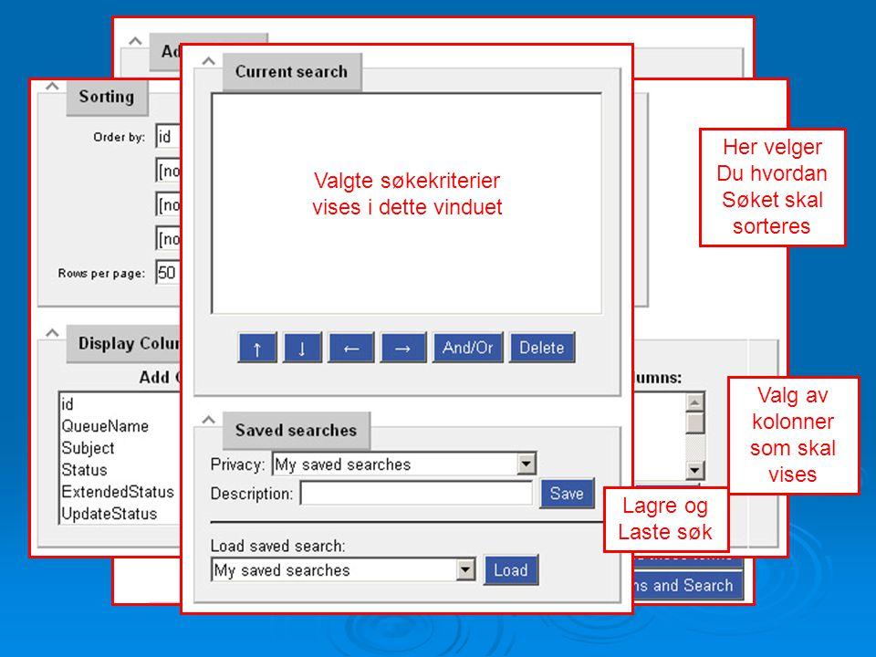 Her velger du Søkekriterier Her velger Du hvordan Søket skal sorteres Valg av kolonner som skal vises Valgte søkekriterier vises i dette vinduet Lagre
