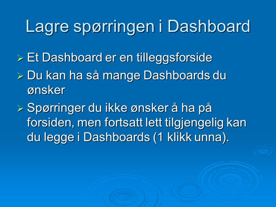 Lagre spørringen i Dashboard  Et Dashboard er en tilleggsforside  Du kan ha så mange Dashboards du ønsker  Spørringer du ikke ønsker å ha på forsid