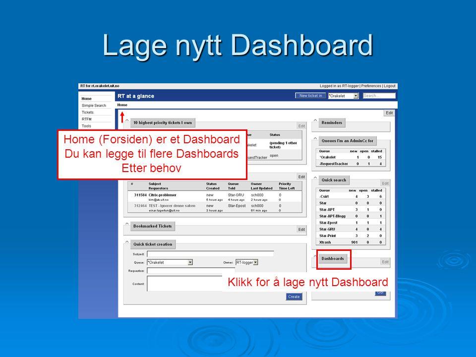 Lage nytt Dashboard Klikk for å lage nytt Dashboard Home (Forsiden) er et Dashboard Du kan legge til flere Dashboards Etter behov