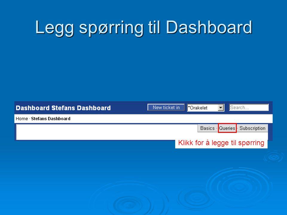 Legg spørring til Dashboard Klikk for å legge til spørring