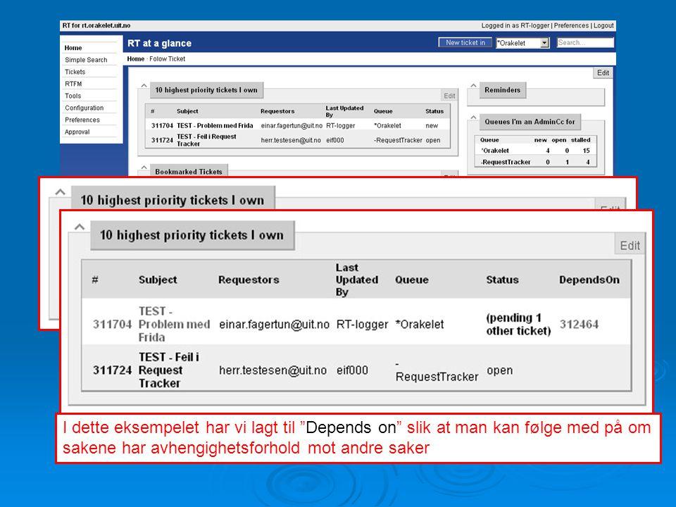 Egne spørringer  Lage spørringer mot RTs database som viser den informasjonen du er ute etter  Lagre spørringene slik at du lett finner dem igjen