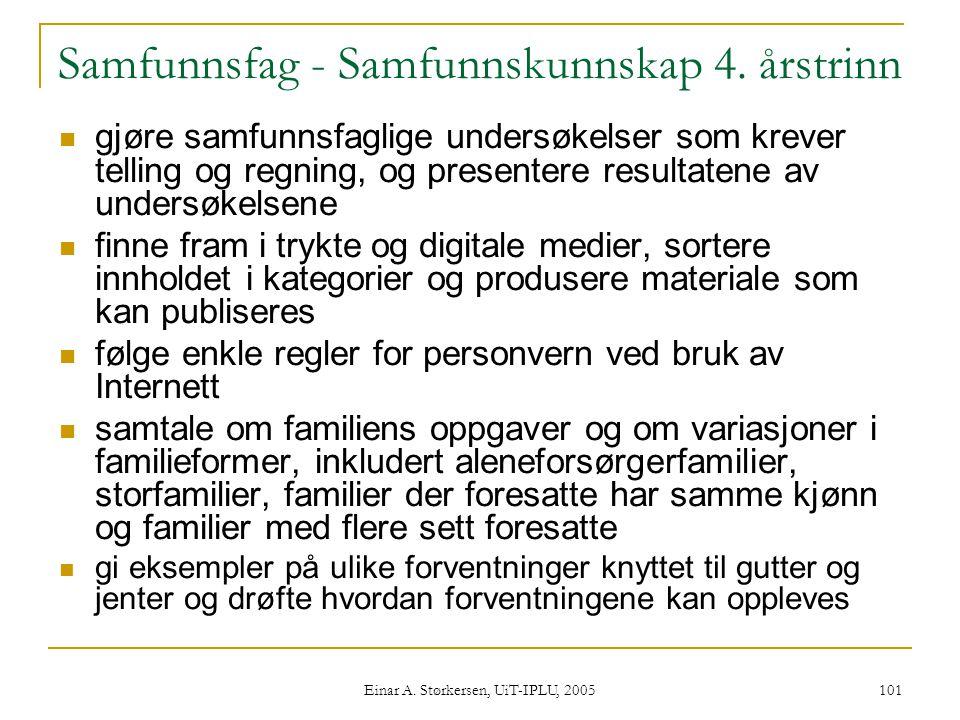 Einar A.Størkersen, UiT-IPLU, 2005 101 Samfunnsfag - Samfunnskunnskap 4.
