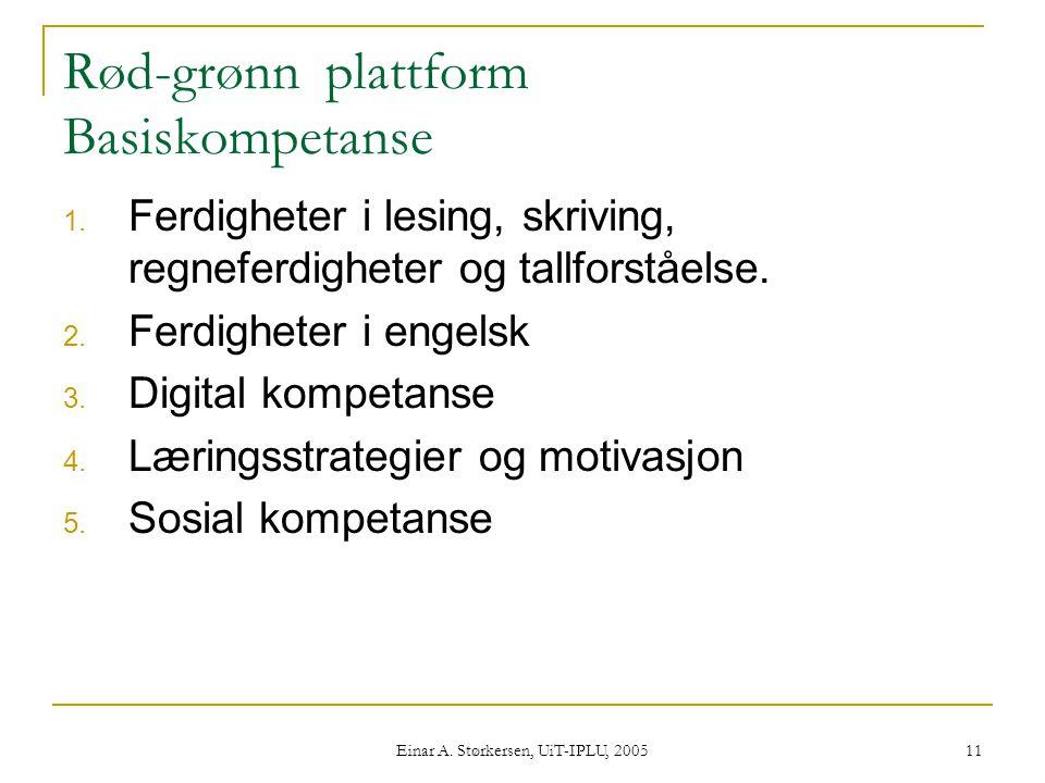 Einar A.Størkersen, UiT-IPLU, 2005 11 Rød-grønn plattform Basiskompetanse 1.