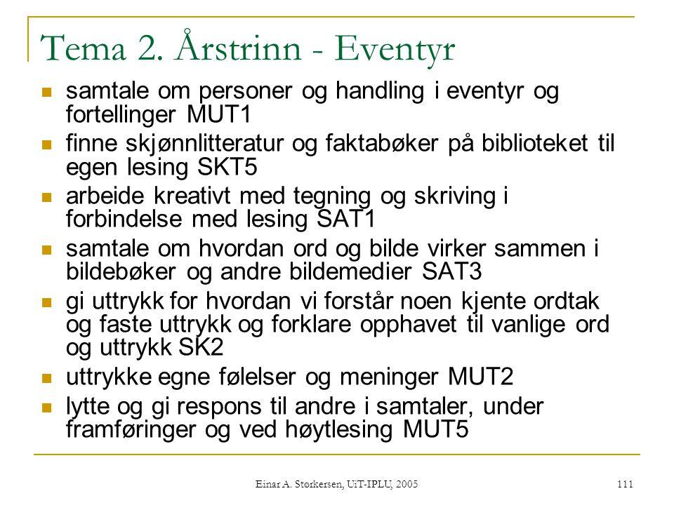 Einar A.Størkersen, UiT-IPLU, 2005 111 Tema 2.