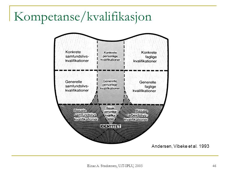 Einar A. Størkersen, UiT-IPLU, 2005 46 Kompetanse/kvalifikasjon Andersen, Vibeke et al. 1993