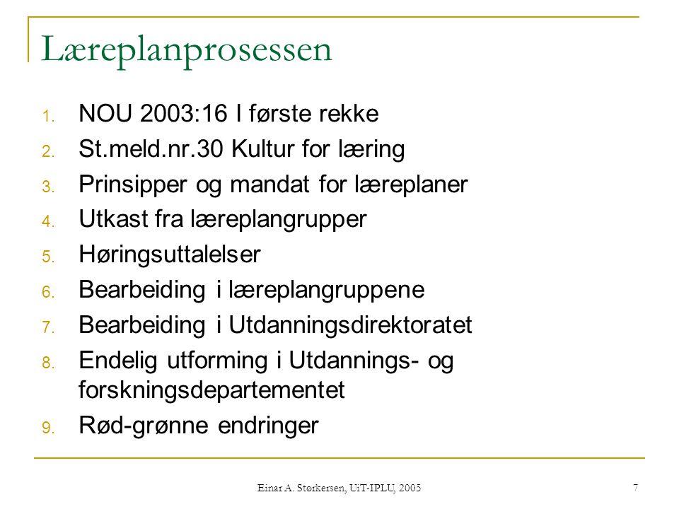 Einar A.Størkersen, UiT-IPLU, 2005 7 Læreplanprosessen 1.