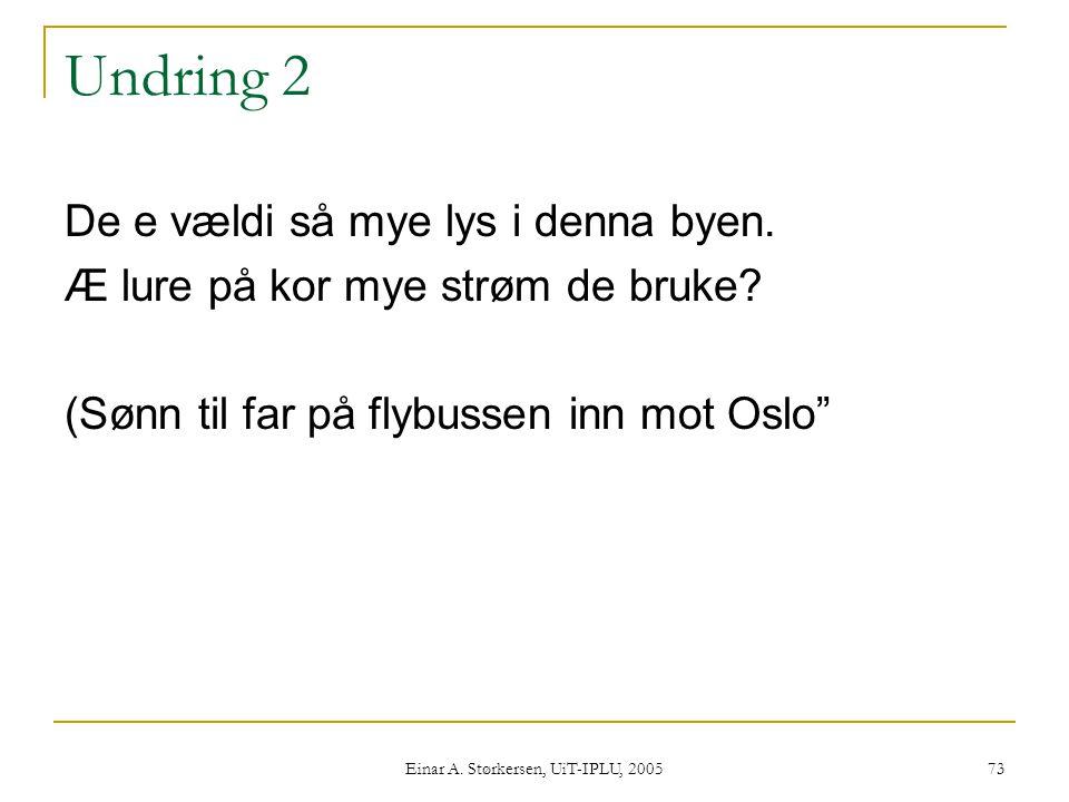 Einar A.Størkersen, UiT-IPLU, 2005 73 Undring 2 De e vældi så mye lys i denna byen.