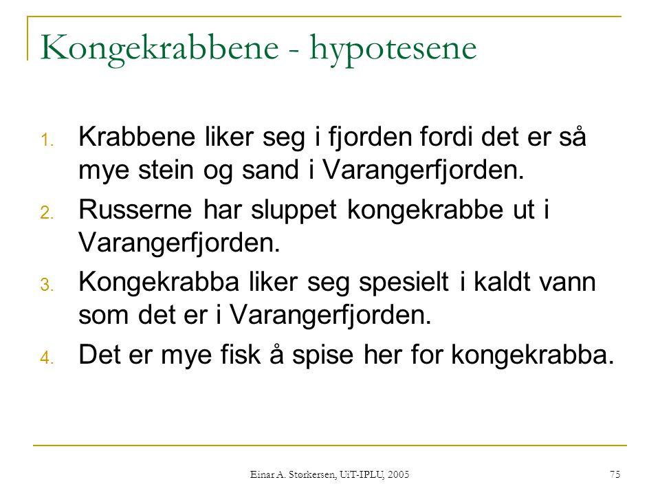 Einar A.Størkersen, UiT-IPLU, 2005 75 Kongekrabbene - hypotesene 1.
