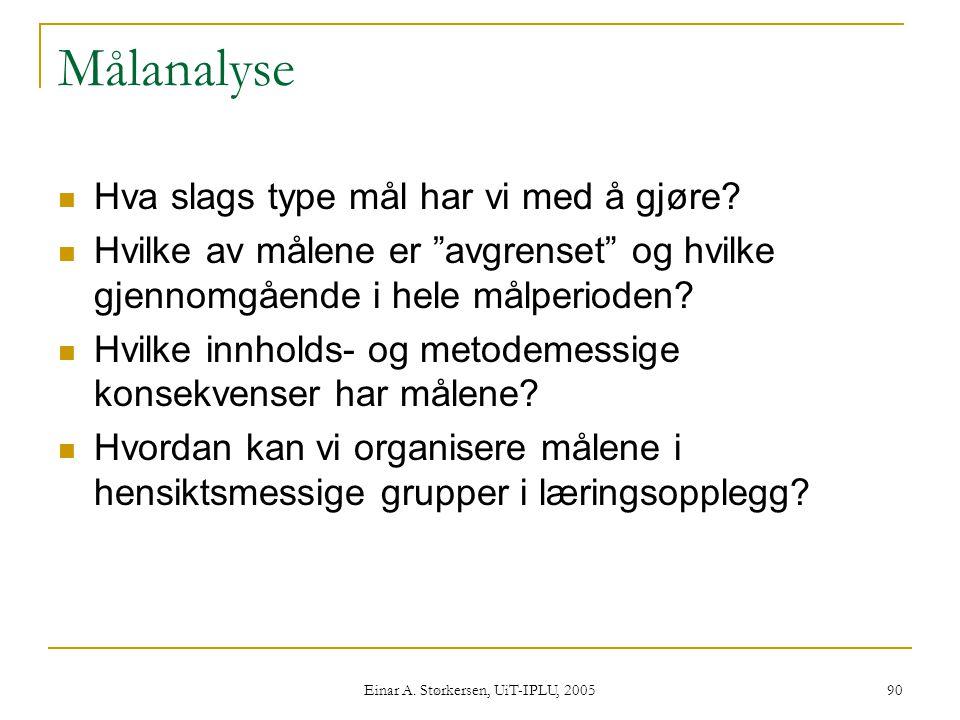 Einar A.Størkersen, UiT-IPLU, 2005 90 Målanalyse  Hva slags type mål har vi med å gjøre.