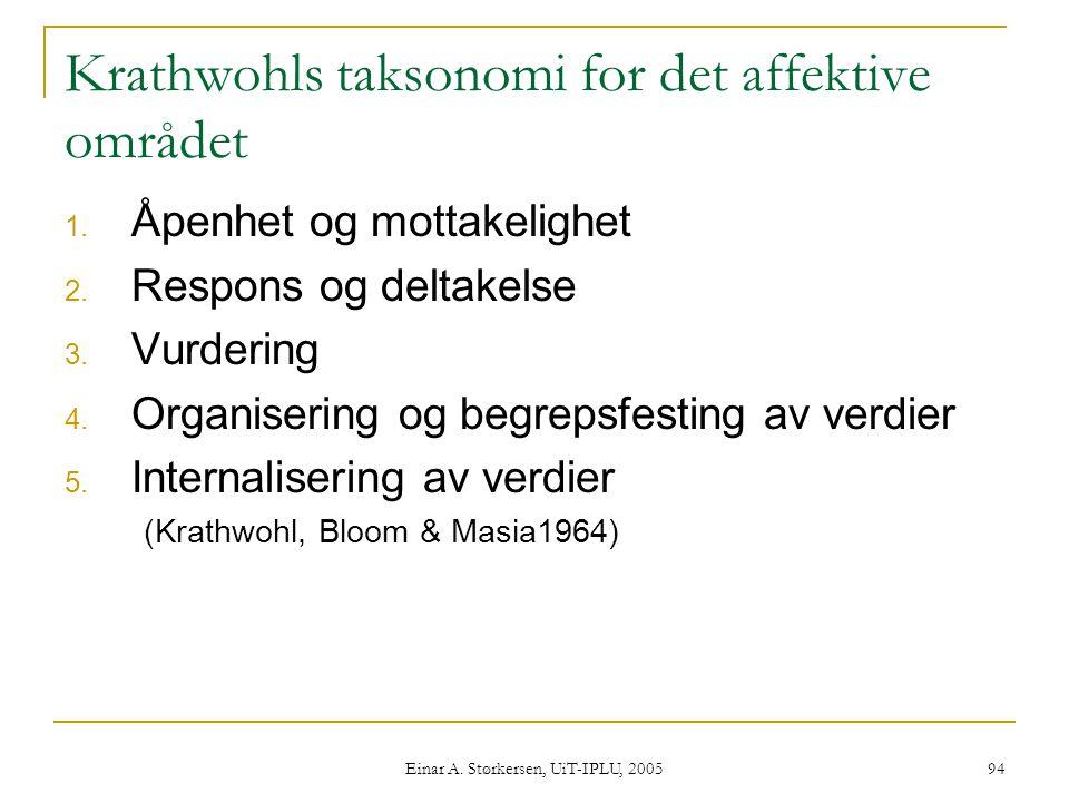 Einar A.Størkersen, UiT-IPLU, 2005 94 Krathwohls taksonomi for det affektive området 1.