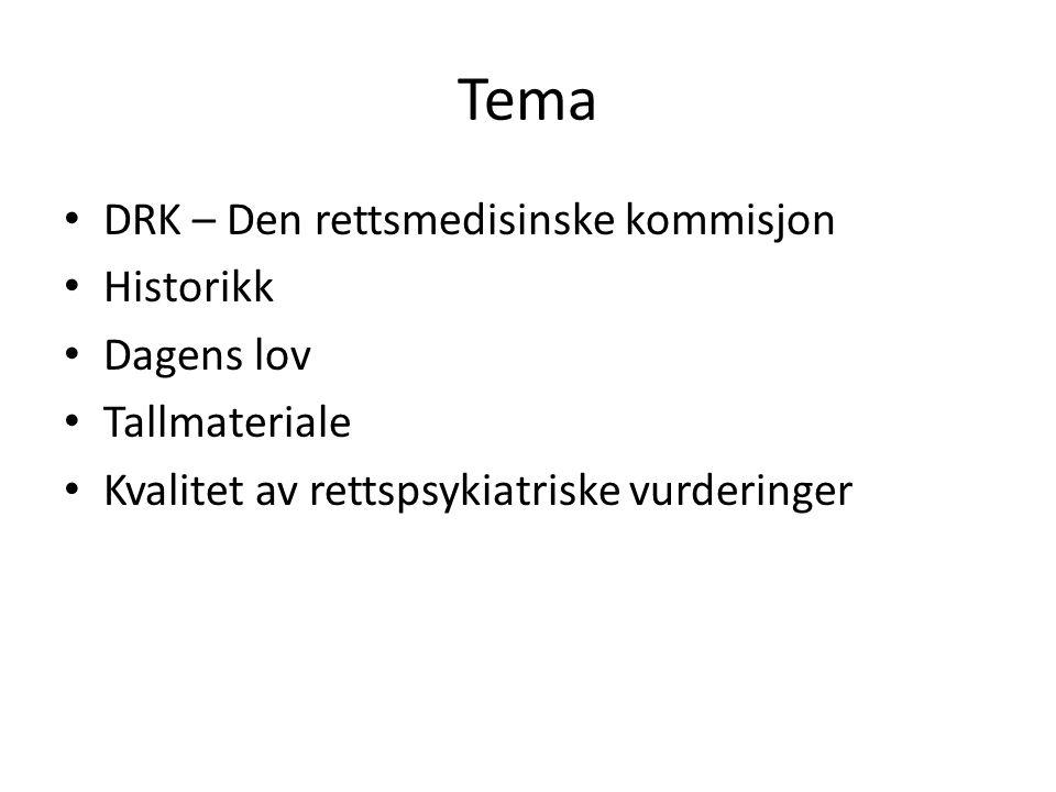 Tema • DRK – Den rettsmedisinske kommisjon • Historikk • Dagens lov • Tallmateriale • Kvalitet av rettspsykiatriske vurderinger