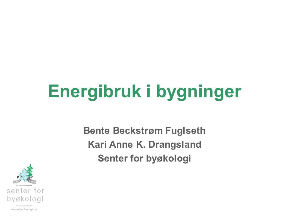 Energibruk i bygninger Bente Beckstrøm Fuglseth Kari Anne K. Drangsland Senter for byøkologi