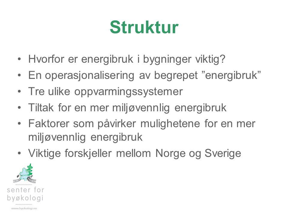 """Struktur •Hvorfor er energibruk i bygninger viktig? •En operasjonalisering av begrepet """"energibruk"""" •Tre ulike oppvarmingssystemer •Tiltak for en mer"""
