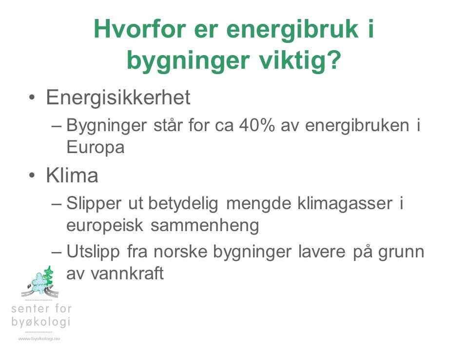 Hvorfor er energibruk i bygninger viktig? •Energisikkerhet –Bygninger står for ca 40% av energibruken i Europa •Klima –Slipper ut betydelig mengde kli