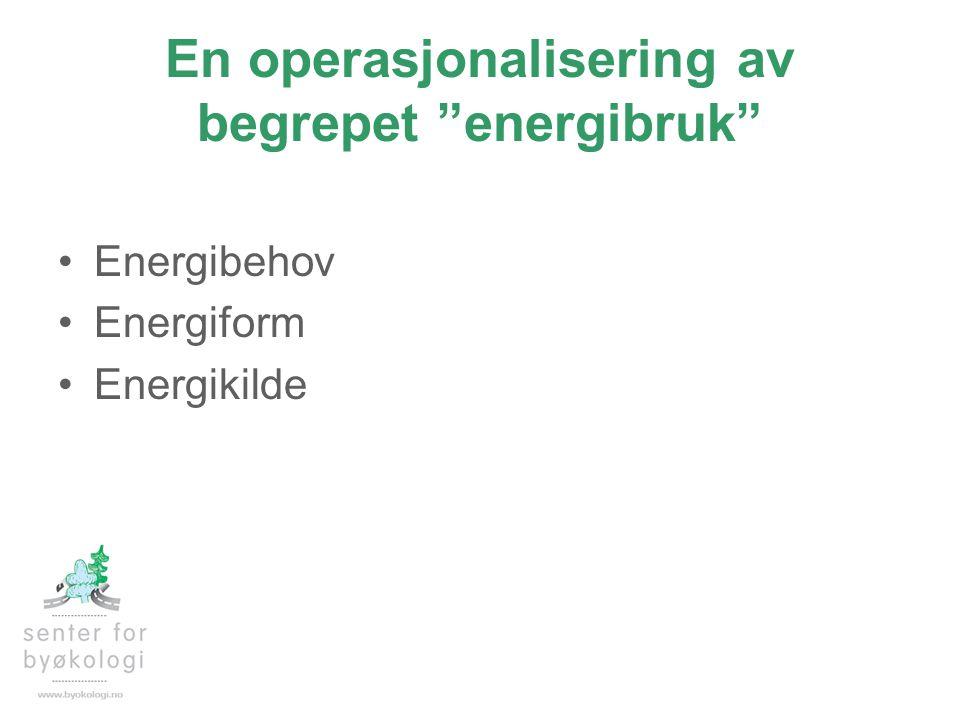 """En operasjonalisering av begrepet """"energibruk"""" •Energibehov •Energiform •Energikilde"""