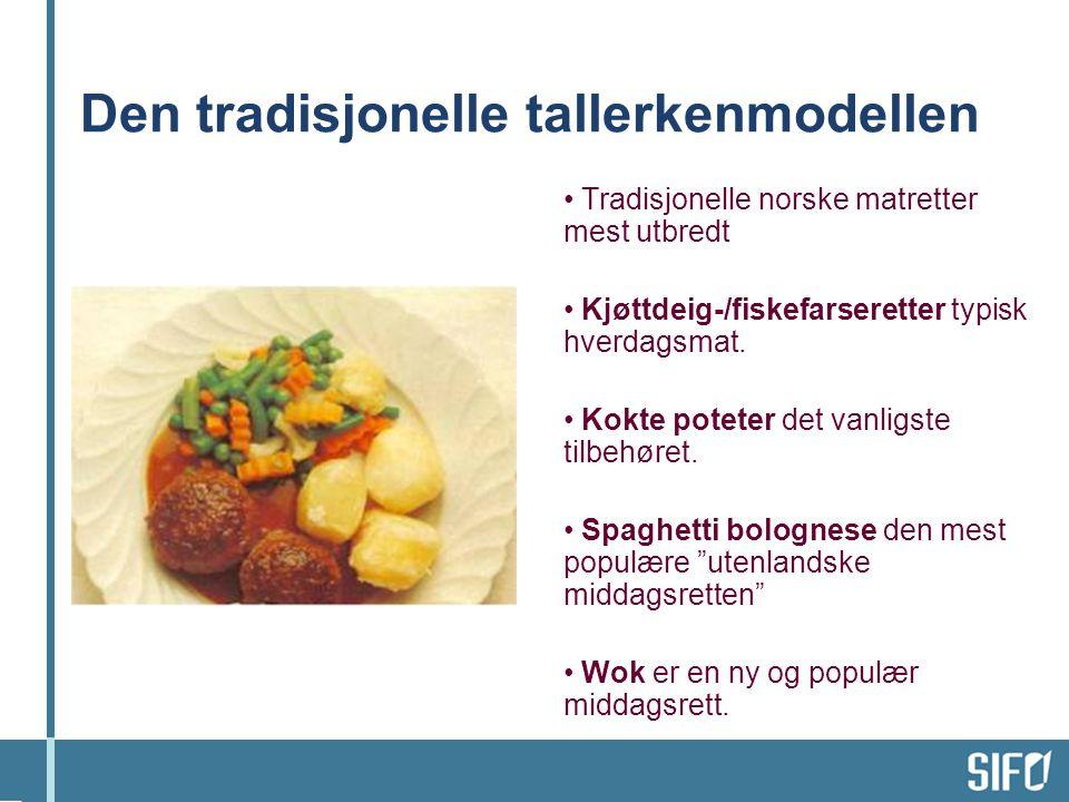 Den tradisjonelle tallerkenmodellen • Tradisjonelle norske matretter mest utbredt • Kjøttdeig-/fiskefarseretter typisk hverdagsmat.