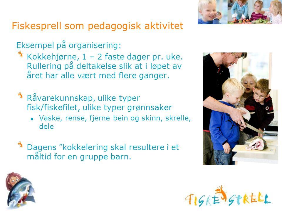 Fiskesprell som pedagogisk aktivitet Eksempel på organisering: Kokkehjørne, 1 – 2 faste dager pr. uke. Rullering på deltakelse slik at i løpet av året