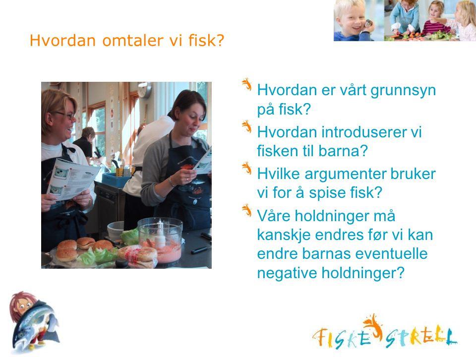 Hvordan omtaler vi fisk? Hvordan er vårt grunnsyn på fisk? Hvordan introduserer vi fisken til barna? Hvilke argumenter bruker vi for å spise fisk? Vår