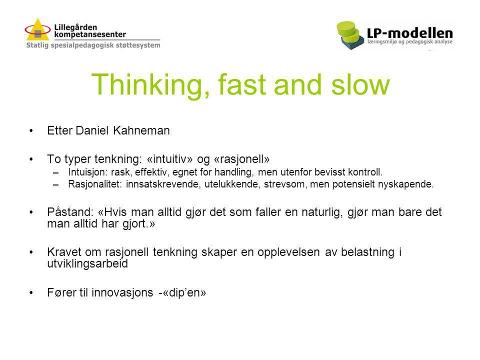 Thinking, fast and slow •Etter Daniel Kahneman •To typer tenkning: «intuitiv» og «rasjonell» –Intuisjon: rask, effektiv, egnet for handling, men utenfor bevisst kontroll.