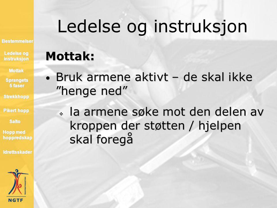 """Ledelse og instruksjon Mottak: • Bruk armene aktivt – de skal ikke """"henge ned""""  la armene søke mot den delen av kroppen der støtten / hjelpen skal fo"""