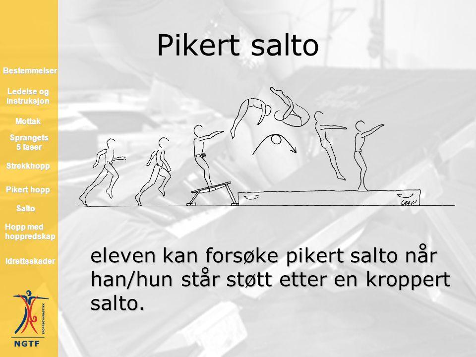 Pikert salto eleven kan forsøke pikert salto når han/hun står støtt etter en kroppert salto. Hopp med hoppredskap Hopp med hoppredskap Mottak Salto St