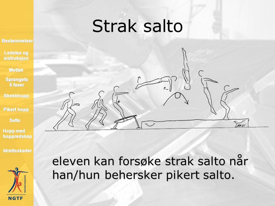 Strak salto eleven kan forsøke strak salto når han/hun behersker pikert salto. Hopp med hoppredskap Hopp med hoppredskap Mottak Salto Strekkhopp Piker