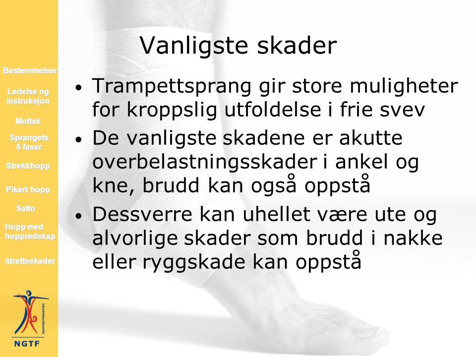 • Trampettsprang gir store muligheter for kroppslig utfoldelse i frie svev • De vanligste skadene er akutte overbelastningsskader i ankel og kne, brud