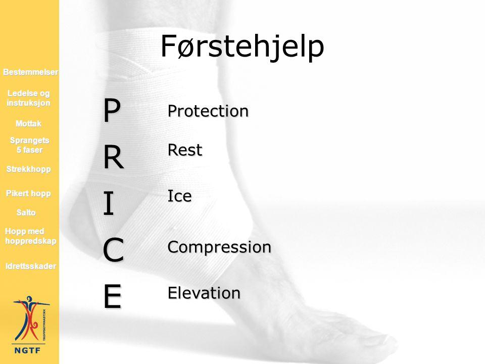 Førstehjelp PRICE ProtectionRestIceCompressionElevation Hopp med hoppredskap Hopp med hoppredskap Mottak Salto Strekkhopp Pikert hopp Pikert hopp Lede