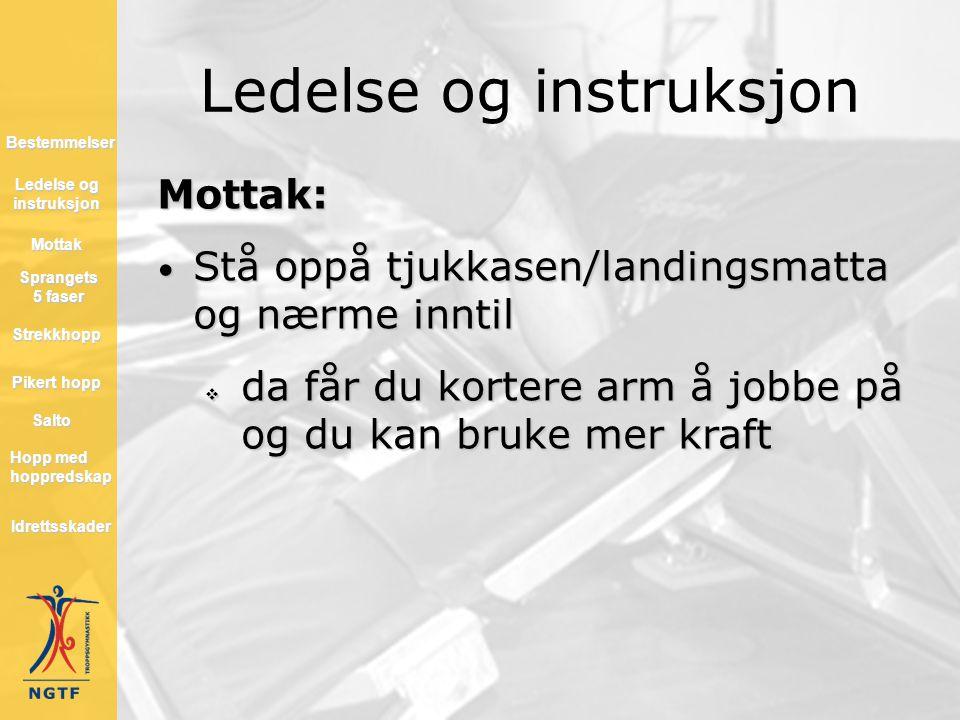 Ledelse og instruksjon Mottak: • Stå oppå tjukkasen/landingsmatta og nærme inntil  da får du kortere arm å jobbe på og du kan bruke mer kraft Hopp me