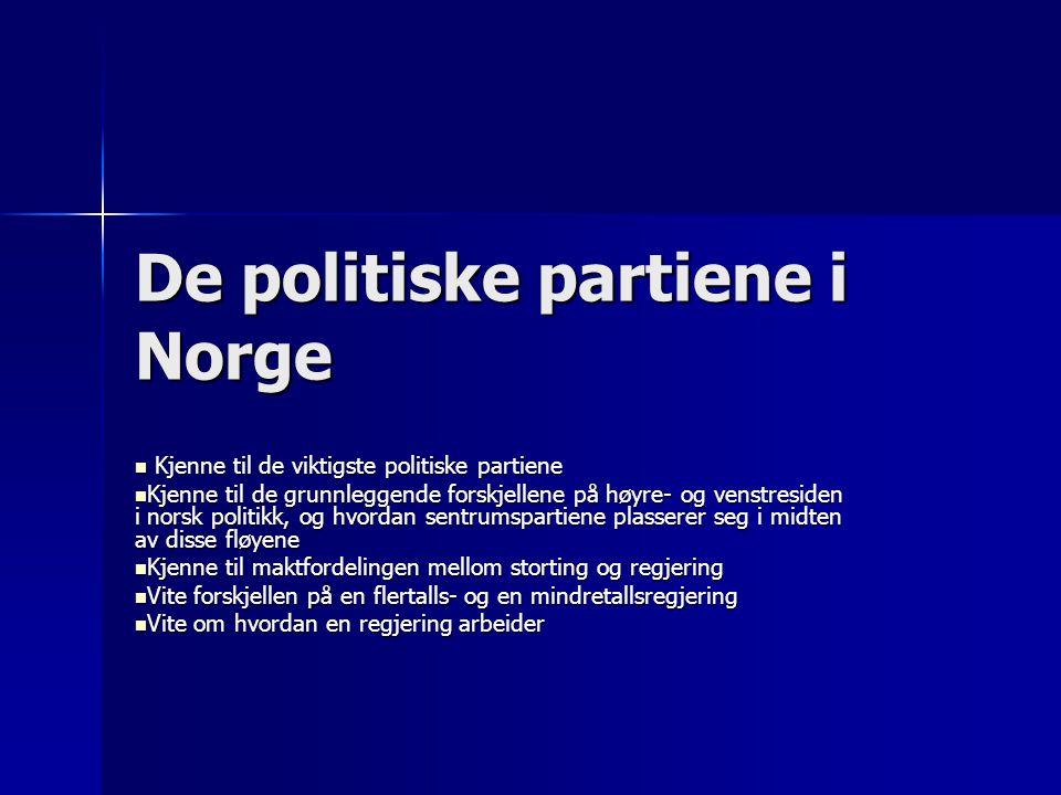 De politiske partiene i Norge  Kjenne til de viktigste politiske partiene  Kjenne til de grunnleggende forskjellene på høyre- og venstresiden i nors