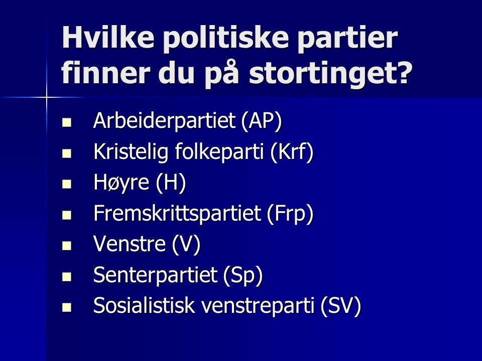 Hvilke politiske partier finner du på stortinget?  Arbeiderpartiet (AP)  Kristelig folkeparti (Krf)  Høyre (H)  Fremskrittspartiet (Frp)  Venstre