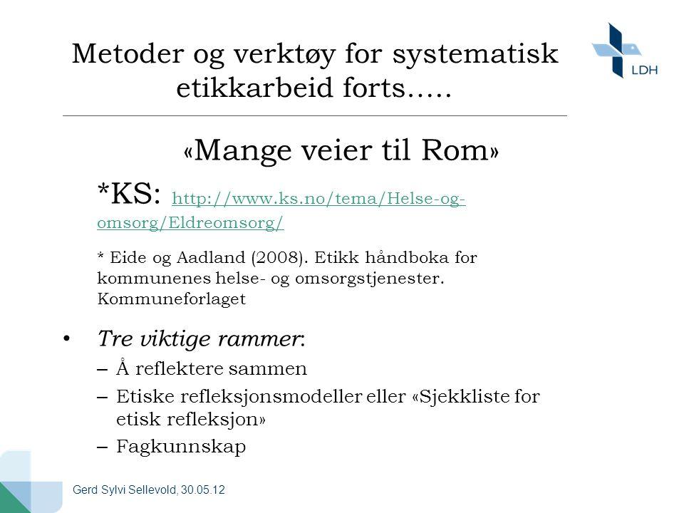 Metoder og verktøy for systematisk etikkarbeid forts….. «Mange veier til Rom» *KS: http://www.ks.no/tema/Helse-og- omsorg/Eldreomsorg/ http://www.ks.n