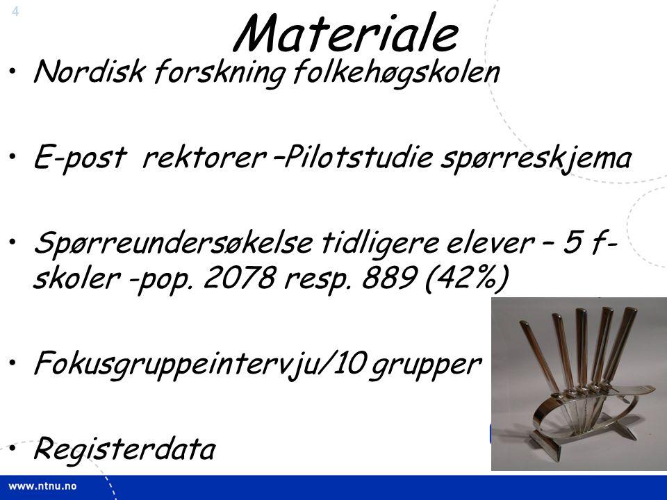 4 Materiale •Nordisk forskning folkehøgskolen •E-post rektorer –Pilotstudie spørreskjema •Spørreundersøkelse tidligere elever – 5 f- skoler -pop. 2078
