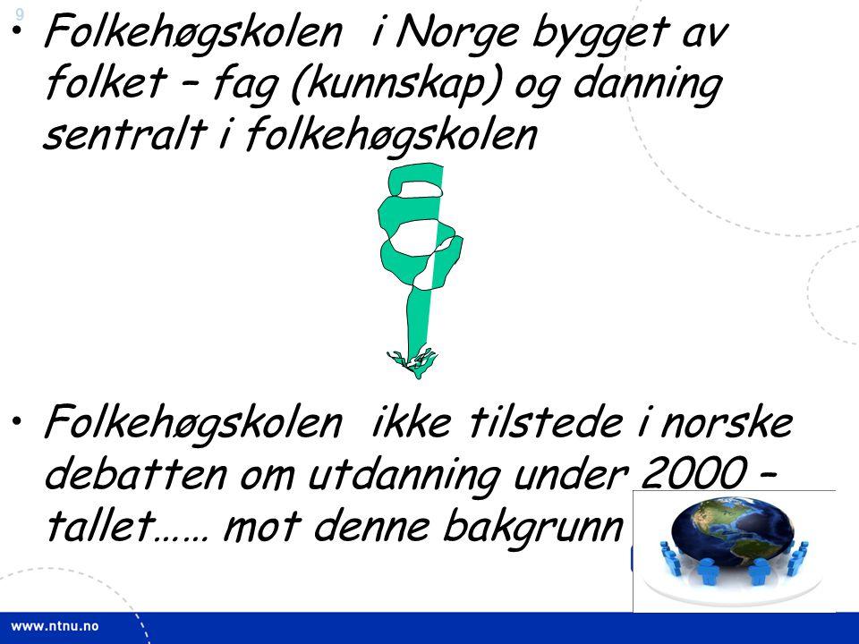 9 •Folkehøgskolen i Norge bygget av folket – fag (kunnskap) og danning sentralt i folkehøgskolen •Folkehøgskolen ikke tilstede i norske debatten om utdanning under 2000 – tallet…… mot denne bakgrunn